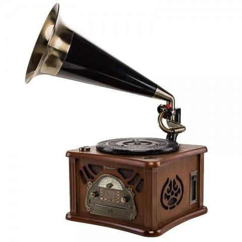 Vintage Ξύλινο ΗiFi με Χοάνη Γραμμοφώνου HIF-1850TUMPK